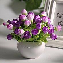 LOF-fei Künstliche Blume Rose Home Decor Seide Esstisch Zubehör,lila,pink Keramik Blumentöpfe