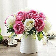 LOF-fei Künstliche Blume Rose Home Decor Seide Topf Esstisch Zubehör, rosa weiß Porzellan vase EIN