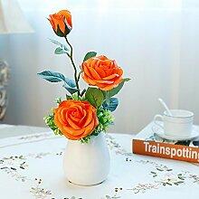 LOF-fei Künstliche Blume rose Seide Esstisch Zubehör Home Decor,orange Keramik Vasen