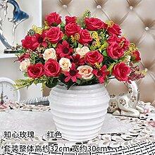 LOF-fei Künstliche Blume rose Seide Esstisch Zubehör in Kunststoff home Einrichtung, die rot weiß Keramik Vase