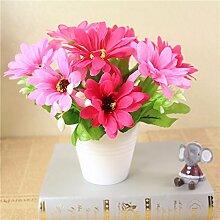 LOF-fei Künstliche Blume rose Seide Home Decor Esstisch Zubehör,Rot Rosa Keramik Blumentöpfe B