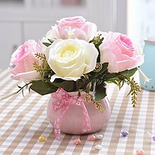 LOF-fei Künstliche Blume rose Seide Home Decor Esstisch Zubehör,rosa weiß Keramik Blumentöpfe