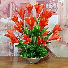 LOF-fei Künstliche Blumen Lilie Home Decor Esstisch Zubehör, orange-farbige Keramik Blumentöpfe