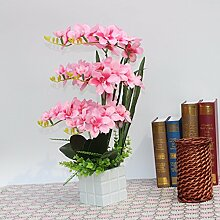 LOF-fei Künstliche Blumen orchidee Seide Esstisch Zubehör in Home Decor, rosa Holz- Flower Po