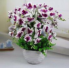 LOF-fei Künstliche Blumen Phalaenopsis Home Decor Silk Tisch Zubehör,Weiß Lila Keramik Töpfe