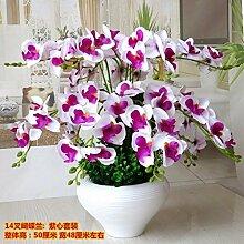 LOF-fei Künstliche Blumen Phalaenopsis Seide Esstisch Zubehör Wohnkultur,Lila,Weiß Runde Keramik Blumentöpfe A