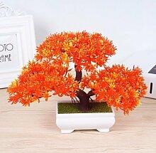 LOF-fei Künstliche Kiefer Pflanze Esstisch Zubehör Kunststoff,orange quadratischen Keramik Blumentöpfe