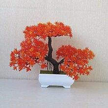 LOF-fei Künstliche Kiefer Pflanze Esstisch Zubehör Seidenblumen,orange quadratischen Keramik Blumentöpfe