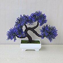LOF-fei Künstliche Kiefer Pflanzen Bonsai Wohnkultur Esstisch Zubehör,blaue quadratische Keramik Blumentöpfe