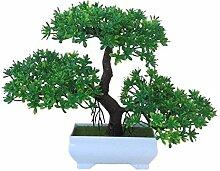 LOF-feiKünstliche Kiefer Pflanzen home decor bonsai esstisch zubehör,grün Platz keramik blumentöpfe A