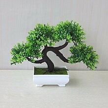 LOF-feiKünstliche Kiefer Pflanzen Wohnkultur Bonsai Esstisch Zubehör,Green Square Keramik Blumentöpfe