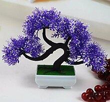 LOF-feiKünstliche Kiefer Pflanzen Wohnkultur Esstisch Zubehör Kunststoff,blaue quadratische Keramik Blumentöpfe