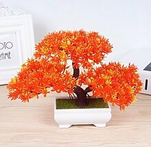 LOF-feiKünstliche Kiefer Pflanzen Wohnkultur Esstisch Zubehör Kunststoff,orange quadratischen Keramik Blumentöpfe