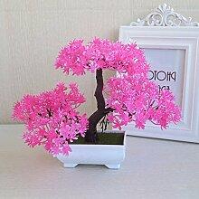 LOF-feiKünstliche Kiefer Pflanzen Wohnkultur Esstisch Zubehör Kunststoff,rosa quadratischen Keramik Blumentöpfe