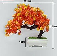 LOF-fei Künstliche Pflanzen Esstisch Zubehör Home Decoration Bonsai,orange Quadrat Keramik Blumentöpfe