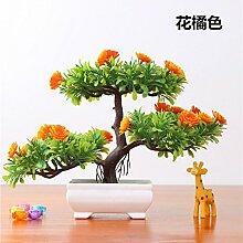 LOF-fei Künstliche Pflanzen Kübelpflanzen Bonsai Dekoration Esstisch Zubehör,Büro der Orange Grün square Keramik Blumentöpfe
