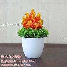 LOF-fei Künstliche Pflanzen Kübelpflanzen Esstisch Zubehör bonsai Home Dekoration office,[orange Keramik Blumentöpfe
