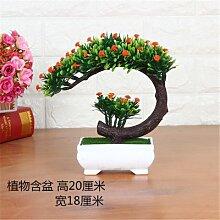 LOF-fei Künstliche Pflanzen Kübelpflanzen Home Dekoration office bonsai Esstisch Zubehör,Orange Grün square Keramik Blumentöpfe