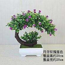 LOF-fei Künstliche Pflanzen Kübelpflanzen Home Dekoration office bonsai Esstisch Zubehör,Lila,Grün square Keramik Blumentöpfe