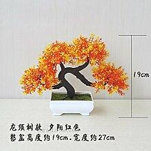 LOF-fei Künstliche Pflanzen Kübelpflanzen Kübelpflanzen Home Dekoration office Esstisch Zubehör,orange Quadrat Keramik Blumentöpfe