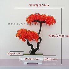 LOF-fei Künstliche Pflanzen Kübelpflanzen Kunststoff Home Dekoration office Esstisch Zubehör bonsai Ball von orange Quadrat Keramik Vasen