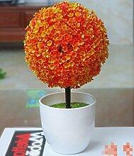 LOF-fei Künstliche Pflanzen Kunststoff Home Deko Esstisch Zubehör Büro vergossen,orange-farbige Keramik Blumentöpfe