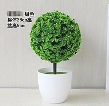 LOF-fei Künstliche Pflanzen Kunststoff Home Deko Esstisch Zubehör Büro vergossen,grün Keramik Blumentöpfe