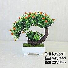 LOF-fei Künstliche Pflanzen Topfpflanzen Büro Bonsai Esstisch Zubehör Home Dekoration,grün orange square Keramik Vasen