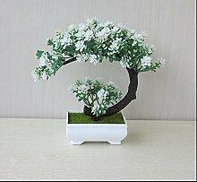 LOF-fei Künstliche Pflanzen Topfpflanzen Büro Bonsai Esstisch Zubehör Home Deko,weiß grün square Keramik Blumentöpfe