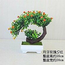 LOF-fei Künstliche Pflanzen Topfpflanzen Büro Bonsai speisen Zubehör Tabelle home Dekoration,Orange Grün square Keramik Blumentöpfe