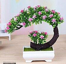 LOF-fei Künstliche Pflanzen Topfpflanzen Dekoration Büro Esstisch Zubehör,grün rosa Quadrat Keramik Blumentöpfe