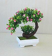 LOF-fei Künstliche Pflanzen Topfpflanzen Esstisch Zubehör Home Decor Bonsai aus Kunststoff,Grün Rot Square Keramik Blumentöpfe