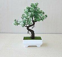 LOF-fei Künstliche Pflanzen Topfpflanzen Esstisch Zubehör bonsai Dekoration Büro,Weiß Grün square Keramik Blumentöpfe