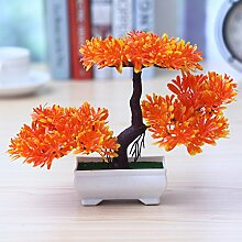 LOF-fei Künstliche Pflanzen Topfpflanzen Home Décor Kunststoff Esstisch Zubehör,orange Quadrat Keramik Blumentöpfe