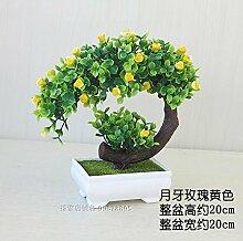 LOF-fei Künstliche Pflanzen Topfpflanzen Home Deko Esstisch Zubehör Büro,Grün gelben Quadrat Keramik Blumentöpfe
