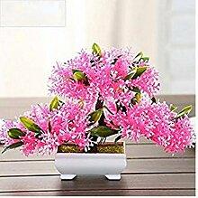 LOF-fei Künstlichen Blume Kiefer der Home Decor bonsai Esstisch Zubehör,rosa Quadrat Keramik Blumentöpfe EIN