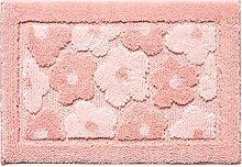 LOFAMI Modernes dreidimensionale rechteckige Flaummatte, Bad und Küche saugfähige carpet / pad, Matte, pad Tür ( Farbe : Pink , größe : 50*80CM )