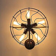 LOFT industrielle Retro Weinlese-Ventilator-kreative Wand-Lampen-Kaffee-Geschäft-Kleidungs-Waren-Wand-Dekoration-Lampen-Ventilator-Wand-Lampe