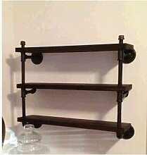 Loft Wand Eisen Regal Holz-Regal Vintage kreativen Rohr Möbel ,Schwarz