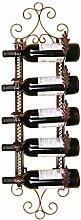 Loft Wand Hänge Eisen Wein Racks Retro Industrial Bar Dekorieren Weinflasche Regale Bar Rotwein Regal ( Farbe : Bronze )