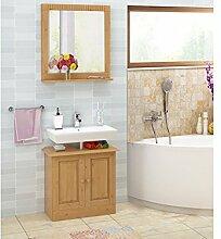 Loft24 Cheryl 2-tlg. Badmöbel Set Spiegel mit Ablage Waschbeckenunterschrank Badezimmer Kiefer Massiv gebeizt Geöl