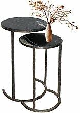Loft24 LAIKA Beistelltisch Nachttisch Couchtisch Sofatisch Beistellregal Mehrzweckregal schwarz Granit/Marmor & Metall