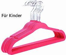 logei® 30St Samt Baby Kinder-Kleiderbügel Kleiderbügel mit Hosenstange Anti-Rutsch Flordecke Beflockung Superdünn, Rosa