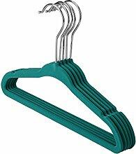 logei® 30St Samt Baby Kinder-Kleiderbügel Kleiderbügel mit Hosenstange Anti-Rutsch Flordecke Beflockung Superdünn, grün