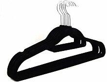 logei® 30St Samt-Kleiderbügel mit rutschfester Samt-Oberfläche Krawatten- und Hosenstange Anti-Rutsch Flordecke Beflockung Superdünn, Schwarz