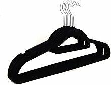 logei® 50St Samt-Kleiderbügel mit Krawatten- und Hosenstange Anti-Rutsch Flordecke Beflockung Superdünn, Schwarz