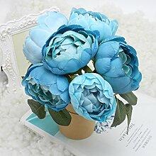 logres Blumenstrauß Künstliche Seidenblumen Vivid Fake Blatt Hochzeit Home Party Dekoration Brautschmuck, blau
