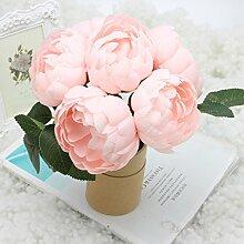 logres Blumenstrauß Künstliche Seidenblumen Vivid Fake Blatt Hochzeit Home Party Dekoration Brautschmuck, rosa