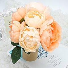 logres Blumenstrauß Künstliche Seidenblumen Vivid Fake Blatt Hochzeit Home Party Dekoration Brautschmuck