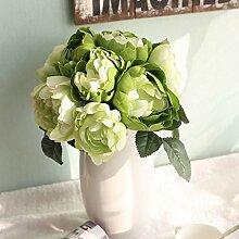 logres Blumenstrauß Künstliche Seidenblumen Vivid Fake Blatt Hochzeit Home Party Dekoration Brautschmuck, grün